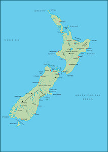 Illustrator EPS map of New Zealand