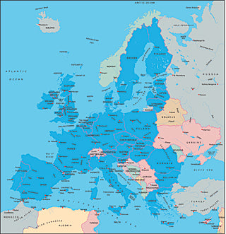Illustrator EPS map of European EU Countries