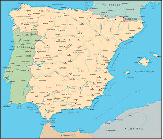 Illustrator EPS map of Iberia, Spain, Portugal