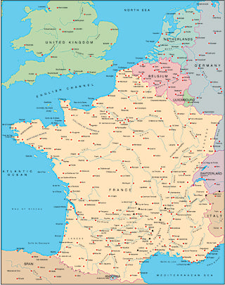 Illustrator EPS map of France, Benelux, Switzerland