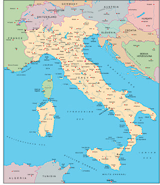 Illustrator EPS map of Italy