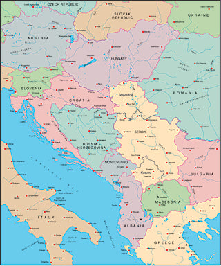 Illustrator EPS map of Yugoslavia, Hungary, Albania