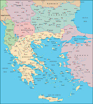 Illustrator EPS map of Balkans, Greek Archipelago
