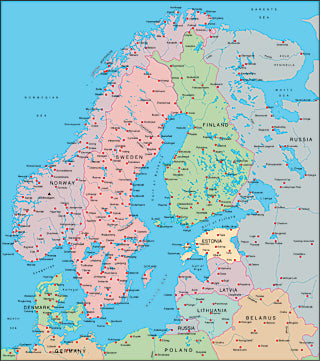 Illustrator EPS map of Scandinavia