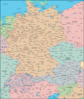 Illustrator EPS map of Germany, Switzerland, Austria