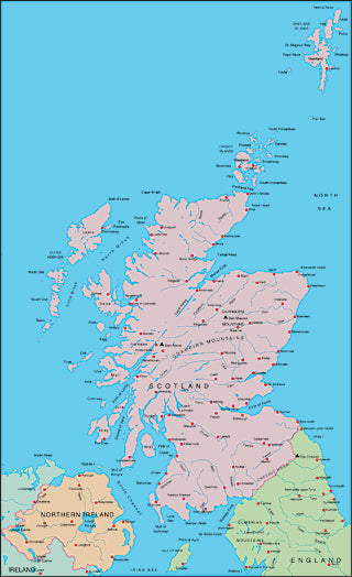 Illustrator EPS map of Scotland, Northern Ireland, North England
