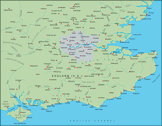 Illustrator EPS map of British Isles - South East England