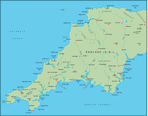 Illustrator EPS map of British Isles - South West England