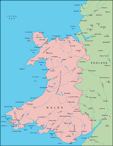 Illustrator EPS map of British Isles - Wales