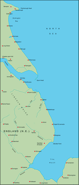 Illustrator EPS map of British Isles - North East England