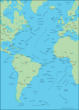 Illustrator EPS map of Atlantic Ocean