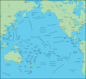Illustrator EPS map of Pacific Ocean