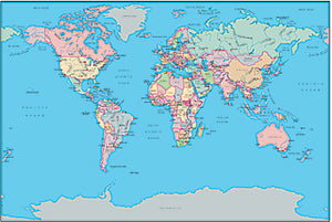 Illustrator EPS map of World - Gall normal projection