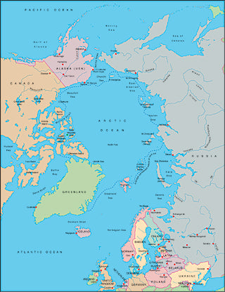 Illustrator EPS map of Arctic Ocean centered at 0 degrees longitude