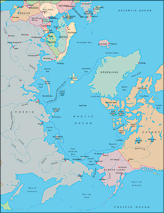Illustrator EPS map of Arctic Ocean centered on 180 degrees longitude