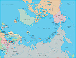 Illustrator EPS map of Arctic Ocean centered on 90 East