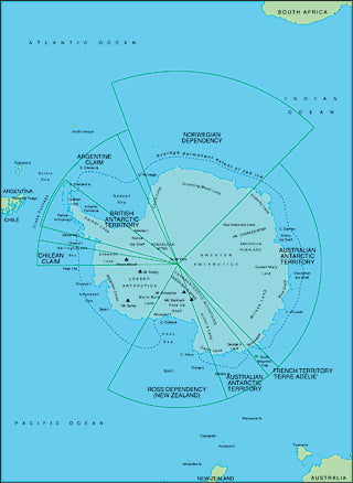 Illustrator EPS map of Antartica centered on 0 degrees longitude