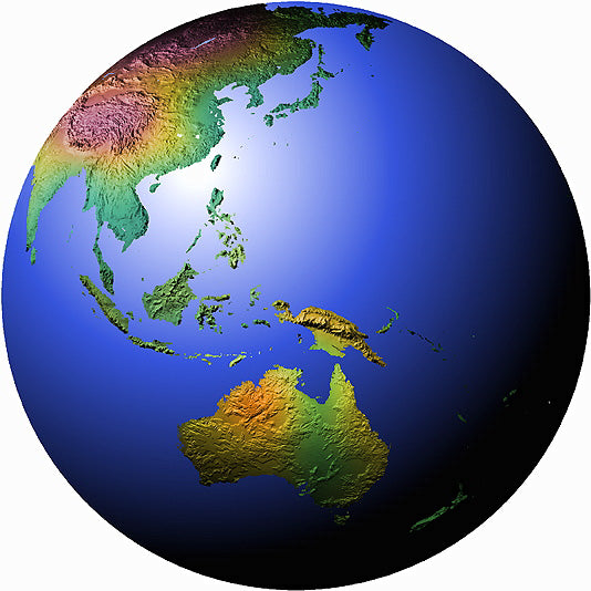 Mountain High Maps Photoshop JPEG Globe view of Equatorial view centered on 135 E longitude Australia Indonesia
