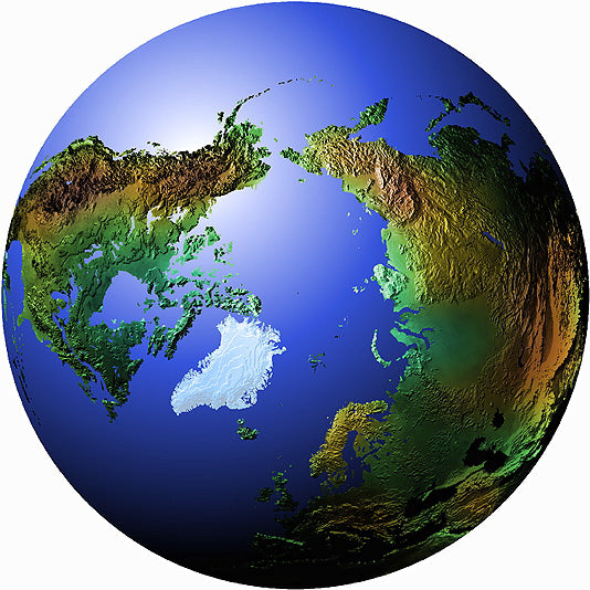 Mountain High Maps Photoshop JPEG Globe view of North Polar view centered on 0 longitude North Pole