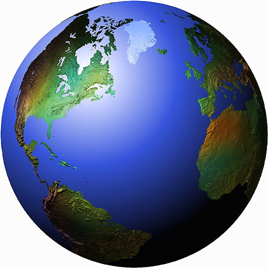 Mountain High Maps Photoshop JPEG Globe view of North Atlantic Ocean centered on 30 N and 45 W Atlantic Ocean