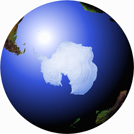 Mountain High Maps Photoshop JPEG Globe view of South Polar view centered on 0 longitude South Pole