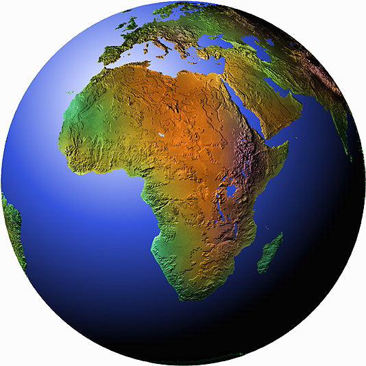 Mountain High Maps Photoshop JPEG Globe view of African view centered on 3 N and 20 E - Central Africa