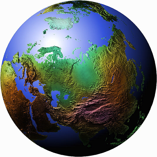 Mountain High Maps Photoshop JPEG Globe view of Russian view centered on 60 N and 70 E - Russia