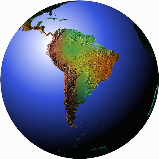 Mountain High Maps Photoshop JPEG Globe view of South American view centered on 23 S and 60 W - Paraguay Soth America