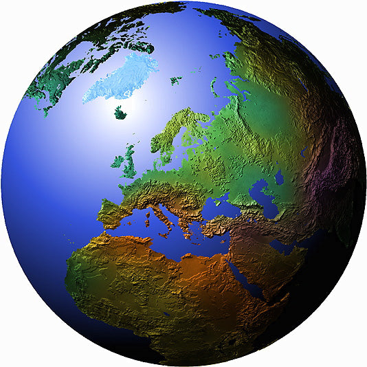 Mountain High Maps Photoshop JPEG Globe view of Europe view centered on 50 N and 20 E - Poland