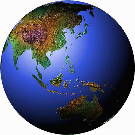 Mountain High Maps Photoshop JPEG Globe view of Far East Asian view centered on 10 N and 120 E - Manila Philipines