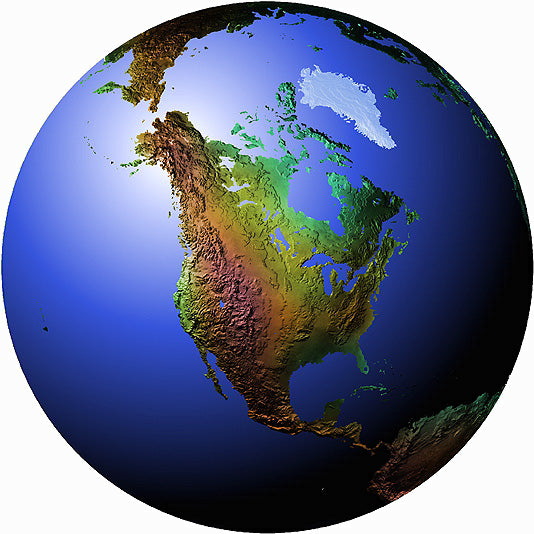 Mountain High Maps Photoshop JPEG Globe view of North America centered on 45 N and 100 W - Dakota