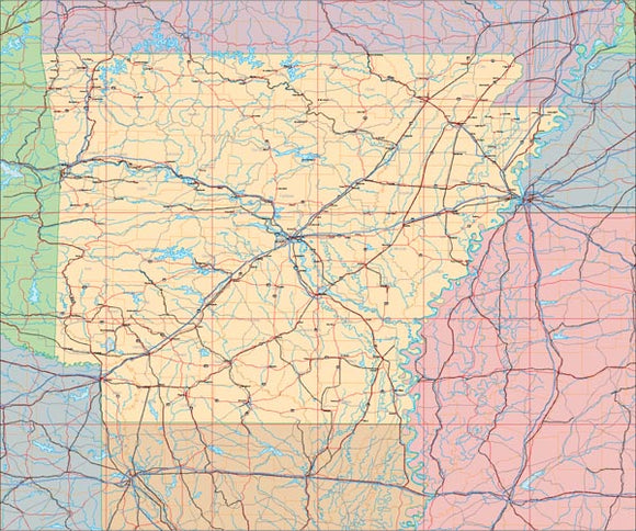 USA State EPS Map of Arkansas