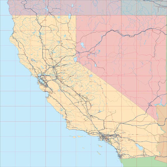 USA State EPS Map of California
