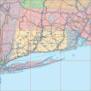 USA State EPS Map of Connecticut