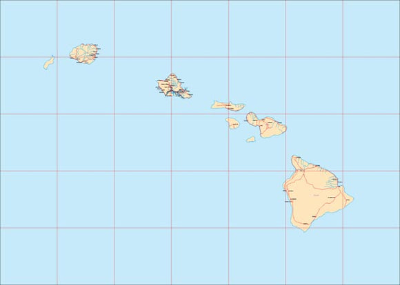 USA State EPS Map of Hawaii