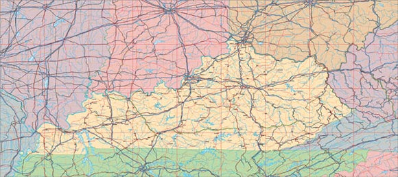 USA State EPS Map of Kentucky