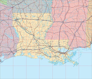 USA State EPS Map of Louisiana
