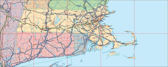 USA State EPS Map of Massachussetts