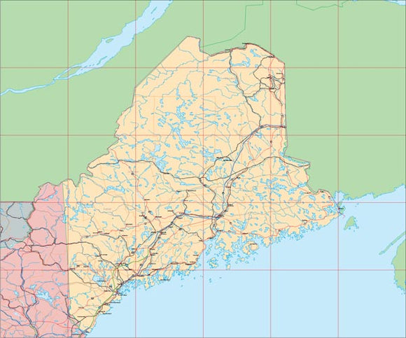 USA State EPS Map of Maine