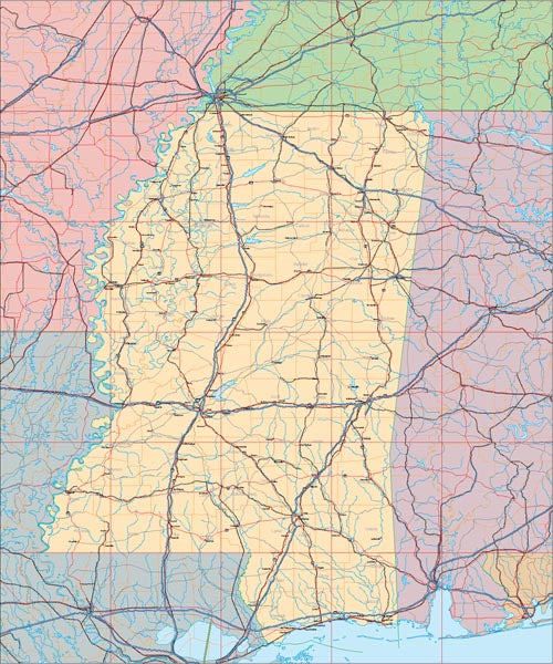 USA State EPS Map of Mississippi