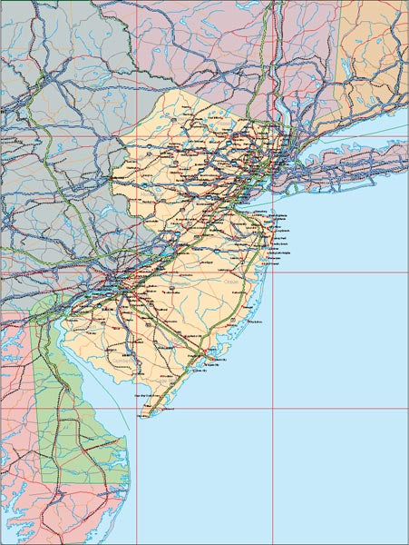 USA State EPS Map of New Jersey