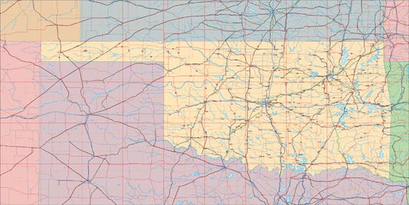 USA State EPS Map of Oklahoma