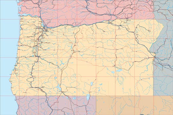 USA State EPS Map of Oregon