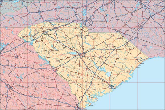 USA State EPS Map of South Carolina