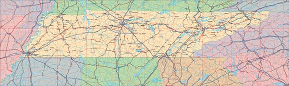 USA State EPS Map of Tennessee