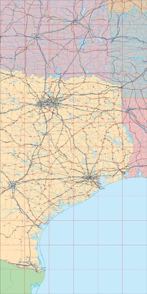 USA State EPS Map of Texas (East)