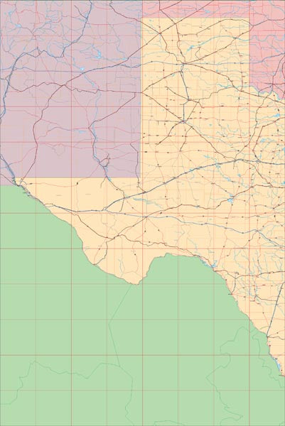 USA State EPS Map of Texas (West)
