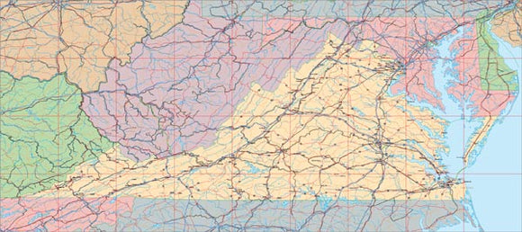USA State EPS Map of Virginia