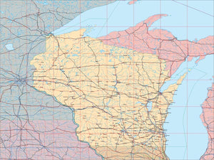 USA State EPS Map of Wisconsin