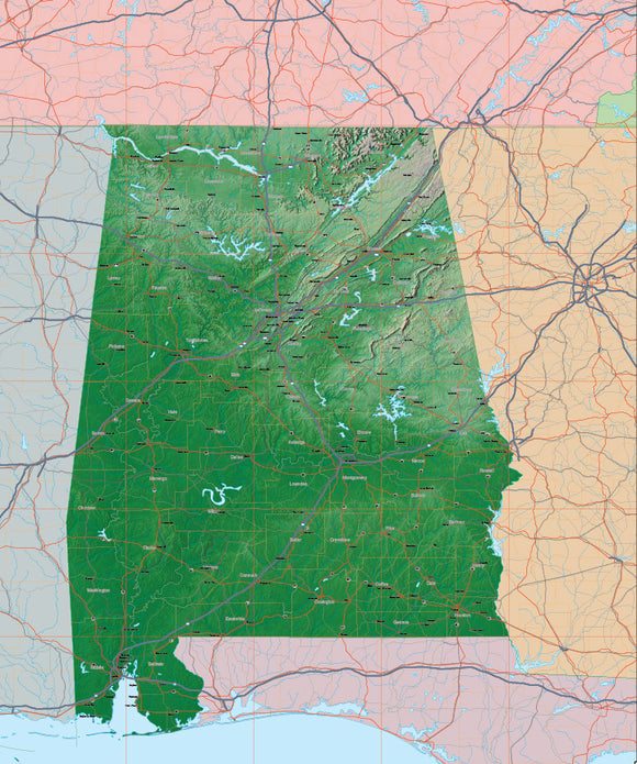 USA State Relief and Vector Map Package of Alabama